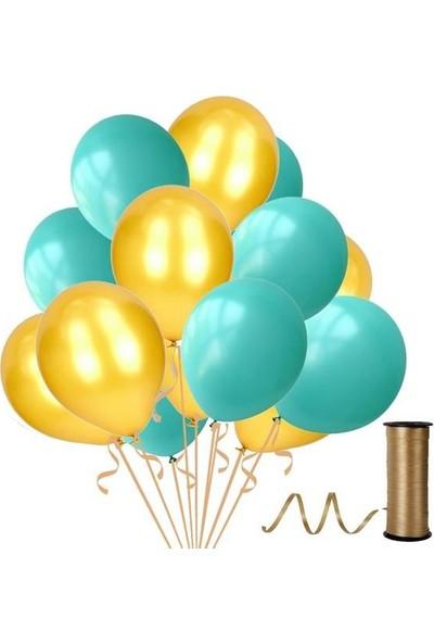 Kullanatparty 30 Adet Metalik Balon Rafya Hediyeli Altın-Mint Su Yeşili