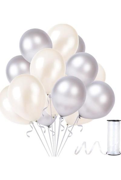 Kullanatparty 30 Adet Metalik Balon Rafya Hediyeli Beyaz-Gümüş