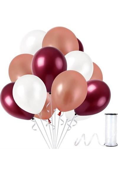 Kullanatparty 30 Adet Metalik Balon Rafya Hediyeli Beyaz-Rose Gold-Bordo