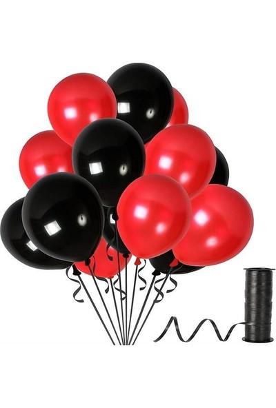Kullanatparty 30 Adet Metalik Balon Rafya Hediyeli Kırmızı-Siyah