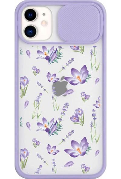 Moodcase Mor Lavanta Tasarımlı Kamera Koruma Kapaklı Apple iPhone 11 Lila Telefon Kılıfı