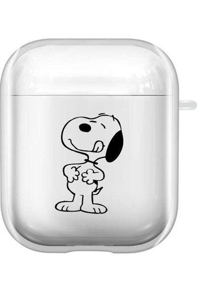 Mooodcase Snoopy Dog Desenli Şeffaf Airpods Kılıfı