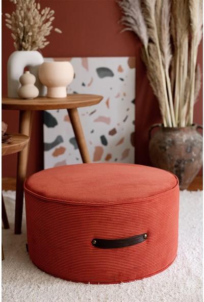 Hamm Tasarım Davul Puf - Pastel Kırmızı 60CM