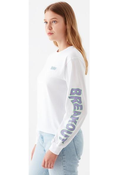 Mavi Kadın Breakout Baskılı Beyaz Sweatshirt 1600826-620