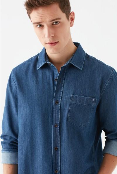 Mavi Erkek Tek Cepli İndigo Gömlek 021721-18790