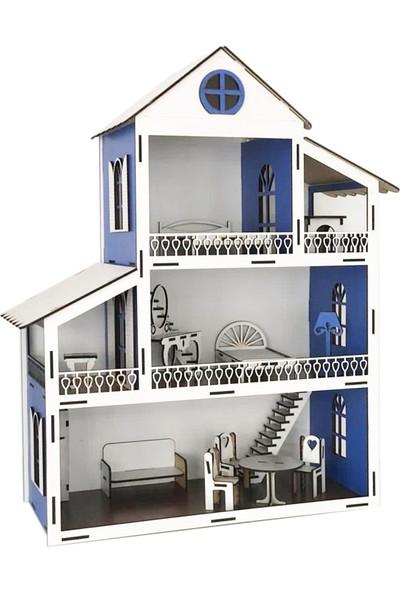 Hilal Shops Mavi Işıklı Eğitici Oyuncak Ahşap Ev