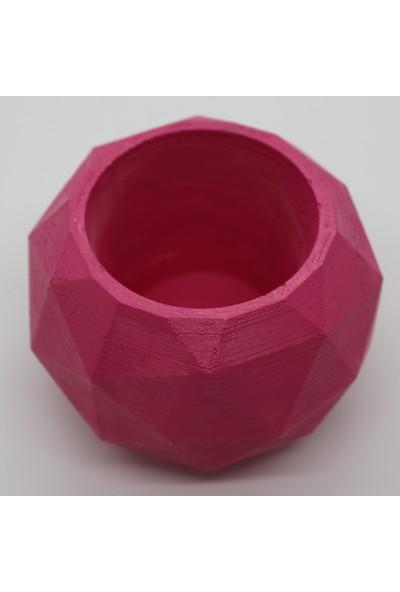 El Yapımı Beton Saksı Geometrik Kaktüs Sukulent Saksısı Fuşya
