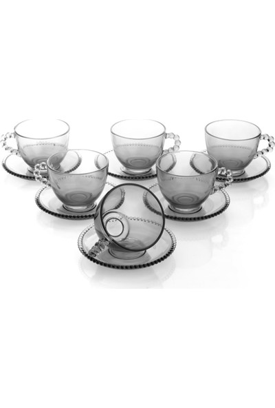 Ay Işığı Boncuk Model Cam Çay ve Neskafe Fincan Takımı 6 Lı (Gri)