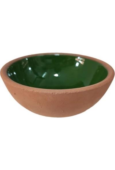 Mogan Çömlekçilik Toprak El Yapımı Yeşil Sırlı 2 Li Fincan Kalpli Sunum Takımı
