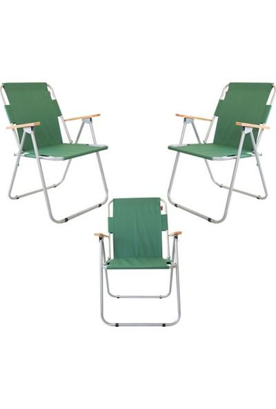 Cosargroup 3 Adet Katlanır Kamp Sandalyesi Yeşil Ahşap Kollu Katlanır Kamp