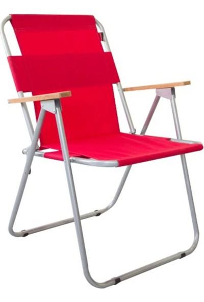 Cosargroup 1 Adet Katlanır Kamp Sandalyesi Kırmızı Ahşap Kollu Katlanır Kamp