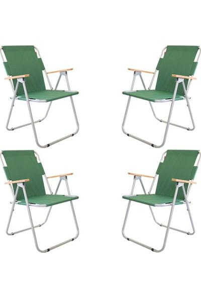 Cosargroup 1 Adet Katlanır Kamp Sandalyesi Yeşil Ahşap Kollu Katlanır Kamp