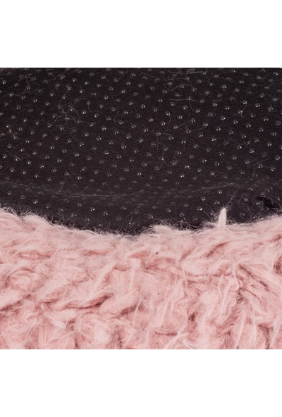 Sleepmax Lux Yuvarlak Dekoratif Yıkanabilir Kaymaz Tabanlı Gül Kurusu Koyun Peluş Kedi Köpek Yatağı