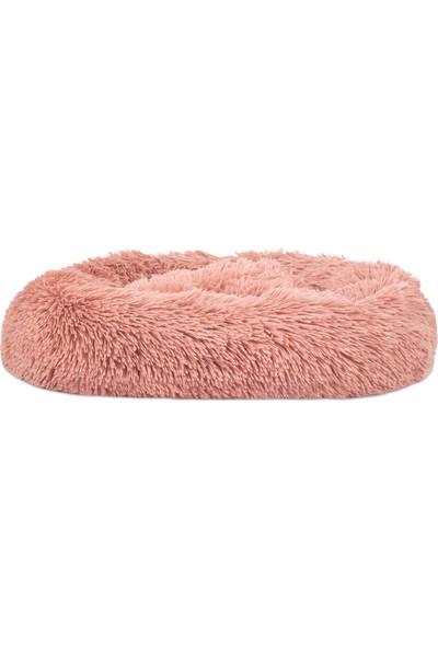 Sleepmax Lux Yuvarlak Dekoratif Yıkanabilir Kaymaz Tabanlı Stres Giderici Gül Kurusu Tüylü Peluş Kedi Köpek Yatağı