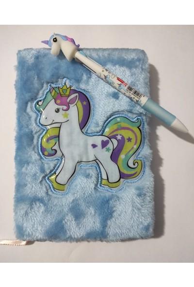 Asel Peluş Unicorn Günlük ve Kalem Seti Mavi