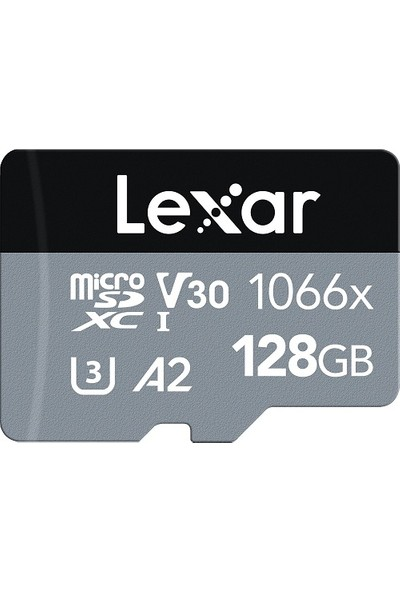 Lexar 128GB Professional 1066X UHS-I MicroSDXC Memory Card + SD Adaptör (Silver Series)