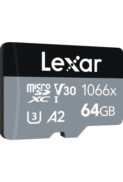 Lexar 64GB Professional 1066X UHS-I MicroSDXC Memory Card + SD Adaptör (Silver Series)