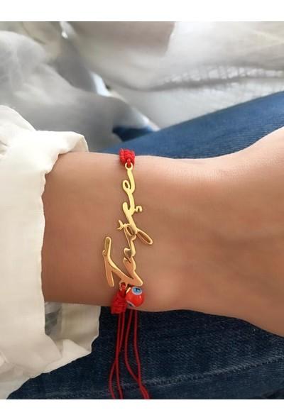 Serpil Jewellery 925 Ayar Kırmızı İpli İsimli Gümüş Bileklik