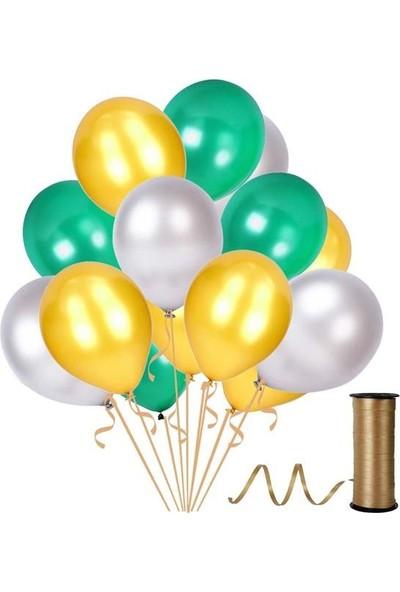 Kullanatparty 30 Adet Metalik Balon Rafya Hediyeli Altın-Gümüş-Yeşil