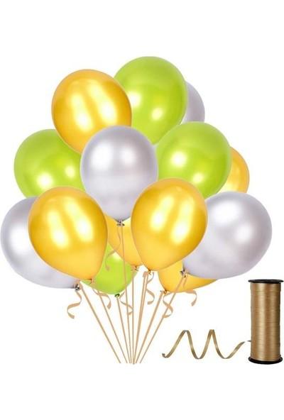 Kullanatparty 30 Adet Metalik Balon Rafya Hediyeli Altın-Gümüş-Fıstık Yeşili
