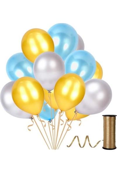 Kullanatparty 30 Adet Metalik Balon Rafya Hediyeli Altın-Gümüş-Bebek Mavisi