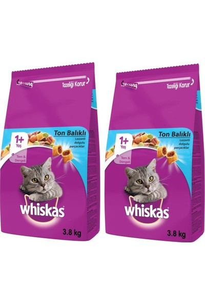 Whiskas Ton Balıklı 3,8 kg Kuru Mama x 2 Adet