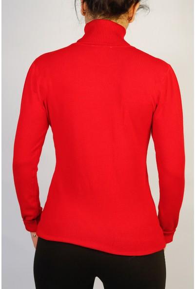 Karton Kırmızı Ligralı Kazak Bluz