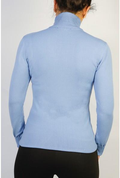 Karton Mavi Ligralı Kazak Bluz