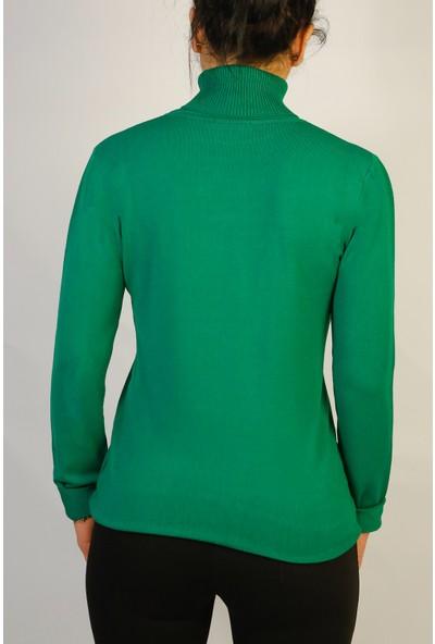 Karton Yeşil Ligralı Kazak Bluz