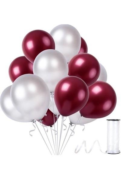 Kullanatparty 30 Adet Metalik Balon Rafya Hediyeli Bordo-Gümüş