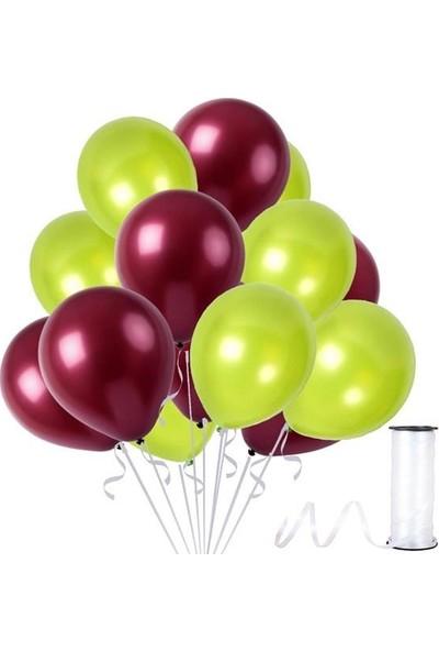 Kullanatparty 30 Adet Metalik Balon Rafya Hediyeli Fıstık Yeşili-Bordo