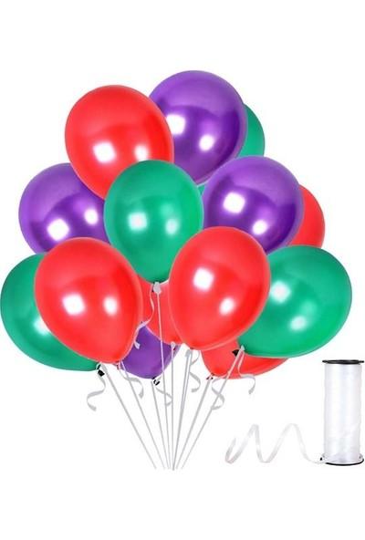 Kullanatparty 30 Adet Metalik Balon Rafya Hediyeli Kırmızı-Mor-Yeşil