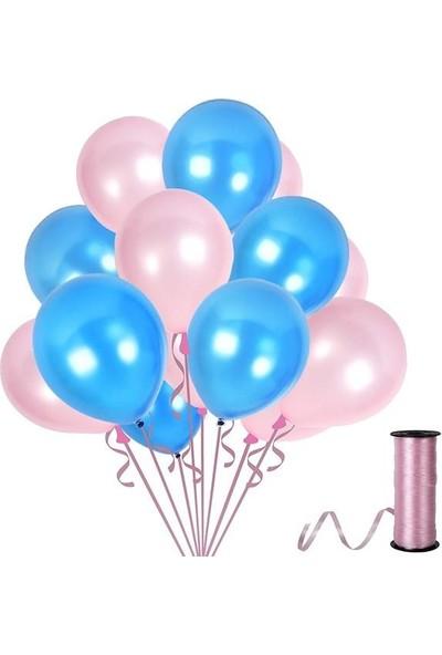 Kullanatparty 30 Adet Metalik Balon Rafya Hediyeli Mavi-Pembe