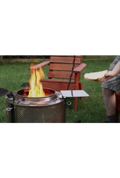 Karadağ Taşınabilir Ateş Çukuru Şömine Krom Paslanmaz Çelik Açık Kamp Ateşi
