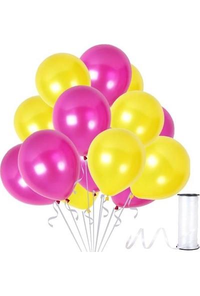 Kullanatparty 30 Adet Metalik Balon Rafya Hediyeli Sarı-Fuşya