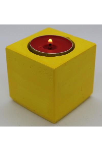 El Yapımı Beton Mumluk Kare Sarı