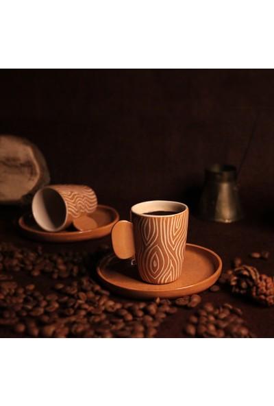 Adamodart Wood Seramik Kahve Fincanı 2'Li Set