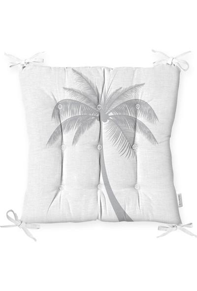 RealHomes Beyaz Zeminde Gri Palmiye Desenli Modern Pofidik Sandalye Minderi