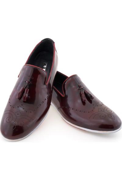 Koçel Bordo Rugan Lazer Işlemeli Püsküllü Günlük Erkek Ayakkabı