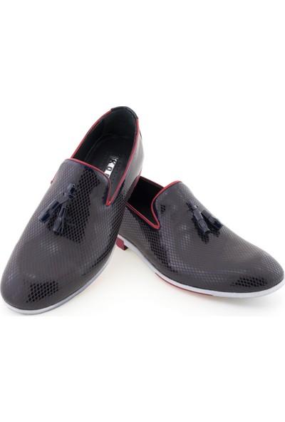 Koçel Lacivert Rugan Baklava Motifli Püsküllü Günlük Erkek Ayakkabı
