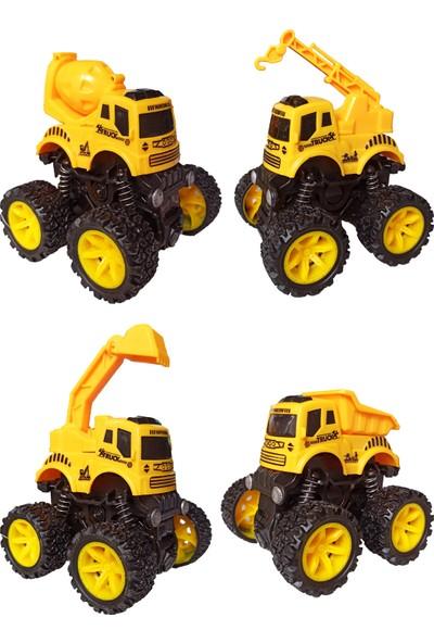 Meva Inşaat Araçları Amortisörlü 4x4 Sevimli 4'lü Inşaat Makineleri Seti