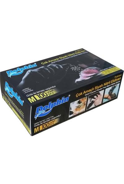 Dolphin Çok Amaçlı Pudrasız Siyah Nitril Eldiven Orta (M) - 100'LÜ