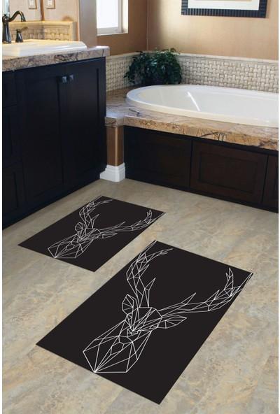 Ysa Home Tasarım Banyo Paspası Seti 50 x 60 cm - 60 x 100 cm Yıkanabilir 2'li Pvc Deri Kaymaz Taban