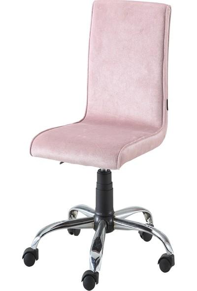 Sandino Papel - Pembe, Kumaş, Metal Ayaklı Ofis Çalışma Sandalyesi