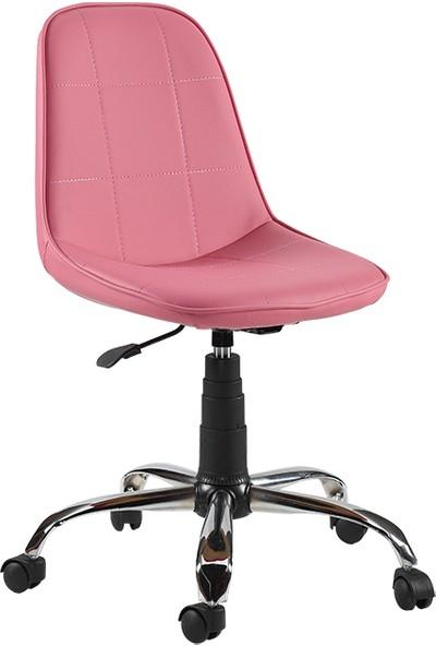 Sandino Naz - Pembe , Suni Deri, Metal Ayaklı Ofis Çalışma Sandalyesi