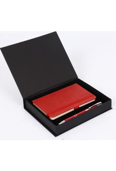 Etkin Kutulu Ajanda + Kalem Seti Kırmızı