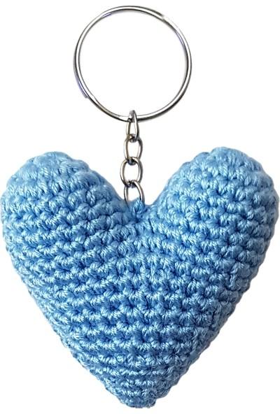 Binbir Trend El Örgüsü Mavi Kalp Anahtarlık Araba Süsü Çanta Süsü