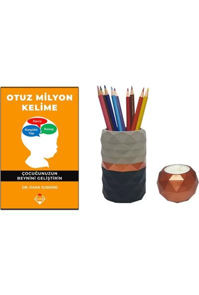 Otuz Milyon Kelime / Dana Suskind + Betonsu Tasarım Beton Kalemlik + Geometrik Model Mumluk (Bakır Renk)