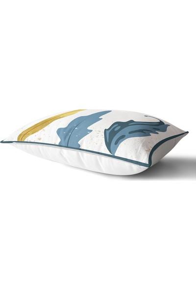 RealHomes Beyaz Zeminde Renkli Yaprak Desenli Dijital Baskılı Modern Dikdörtgen Yastık & Kırlent Kılıfı