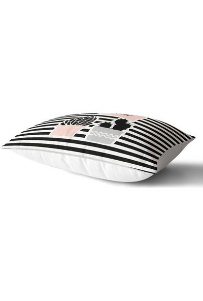 RealHomes Renkli Zemin Üzerinde Siyah Çizgili Kaktüs Desenli Modern Dikdörtgen Yastık & Kırlent Kılıfı